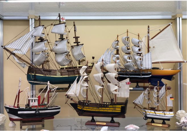 Vintage models of sailboats